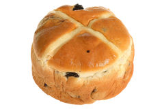 Hot Cross Bun on a plate Royalty Free Stock Image