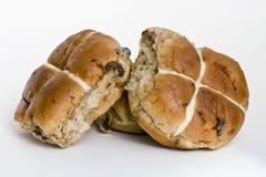 Hot cross buns. Three freshly baked hot cross buns stock images