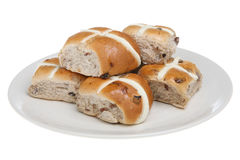 Hot Cross Buns. Isolated plate of fresh hot cross buns Royalty Free Stock Photos