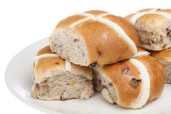 Hot Cross Buns. A plateful of Easter hot cross buns Royalty Free Stock Image