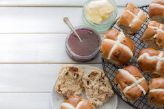 Hot Cross Buns from Above Stock Photography