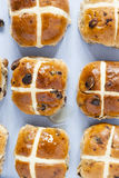 Hot cross buns, Ariel view of spiced sweet bread Royalty Free Stock Photo