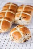 Hot cross buns on a baking tray Stock Photos
