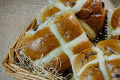 Hot Cross Buns in a Basket Stock Image