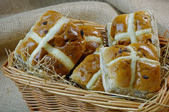 Hot Cross Buns in a Basket Stock Photo
