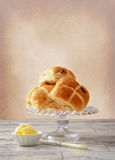 Hot Cross Buns With Butter Stock Photography
