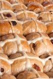 Hot cross buns closeup. Closeup of freshly baked hot cross buns Stock Image