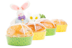 Hot cross buns with easter bunny Royalty Free Stock Photography