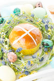 Hot cross buns and easter decorations Stock Photography