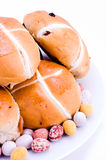 Hot cross buns with easter eggs Royalty Free Stock Photos