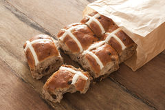 Hot Cross Buns for Easter in a paper packet Stock Images