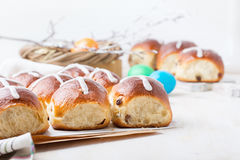 Hot cross buns on Easter table Royalty Free Stock Photo