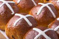 Hot cross buns on Easter table Royalty Free Stock Image