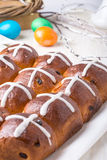 Hot cross buns on Easter table Royalty Free Stock Photography