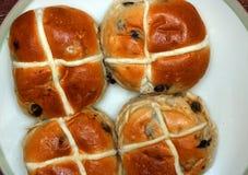 Hot cross buns at Easter time. Stock Photos