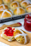 Hot Cross Buns. Are buns marked with a cross on the top and traditionally eaten on Good Friday in many countries Stock Image