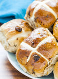 Hot cross Buns on a plate Royalty Free Stock Photo