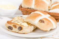 Hot Cross Buns. Spiced sweet buns with raisins. Traditional Easter meal Stock Images
