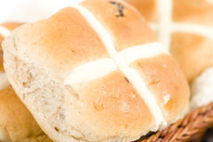 Hot Cross Buns. Spiced sweet buns with raisins. Traditional Easter meal Royalty Free Stock Photos
