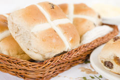 Hot Cross Buns. Spiced sweet buns with raisins. Traditional Easter meal Stock Photography