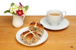 Hot cross buns and tea Royalty Free Stock Photo