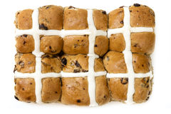 Hot Cross Buns Top View Isolated on White Stock Photography