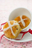 Hot crossed buns. For Easter in the cup Stock Images