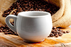 Hot cup of aromatic coffee Stock Photo
