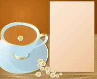 Hot cup of chamomile. With flowers around and notepad for descriptions beside it Stock Images