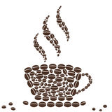 Hot Cup of Coffee with Bean Pattern Royalty Free Stock Photography
