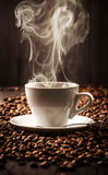 Hot cup of coffee on beans background Royalty Free Stock Images