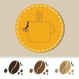 Hot Cup Of Coffee And Beans - Sticker With Scissors - Vector Cut Out Icons Royalty Free Stock Photos