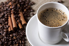 Hot cup of coffee with cinnamon and coffee grains. Hot coffee with coffee grains and cinnamon Royalty Free Stock Photos