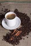 Hot cup of coffee with cinnamon and coffee grains. Fresh cup of coffee with cinnamon and coffee grains Royalty Free Stock Photos