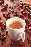 Hot cup of coffee-espresso- with smoke Royalty Free Stock Photography