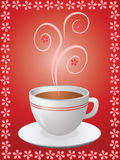 Hot cup of coffee in flowers frame. Card with hot cup of coffee in flowers frame Stock Photography