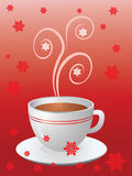 Hot cup of coffee on red. Christmas hot cup of coffee on red with snowflakes Royalty Free Stock Photos