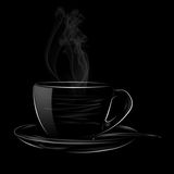 HOT CUP OF COFFEE WITH SPOON. Illustration Smoke white Cup Of Coffee on black background Royalty Free Stock Image