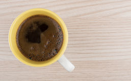 Hot cup of coffee with on wooden table Stock Photo