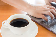 Hot Cup Of Coffee On Working Table Royalty Free Stock Photos
