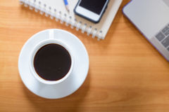 Hot Cup Of Coffee On Working Table Stock Photography