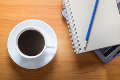 Hot Cup Of Coffee On Working Table Royalty Free Stock Photography