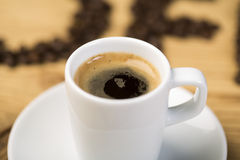 Hot cup of espresso coffee Stock Photos