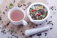 Hot cup of herbal and blackberry tea with white mortar with pestle Royalty Free Stock Images