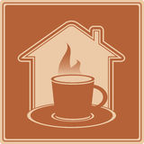 Hot cup and house silhouette Stock Images