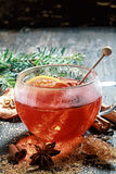 Hot cup of spiced hot tea or gluhwein Royalty Free Stock Photos