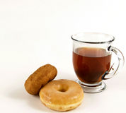 Hot Cup Of Tea With Donuts With Copy Space Royalty Free Stock Photography