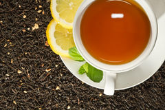 Hot cup of tea and fresh leaves Stock Images