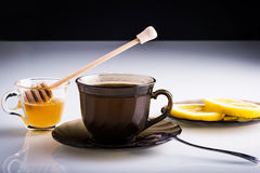 Hot cup of tea. Hot tea with lemon slices Royalty Free Stock Images