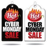 Hot Cyber Monday sale tags Royalty Free Stock Photos